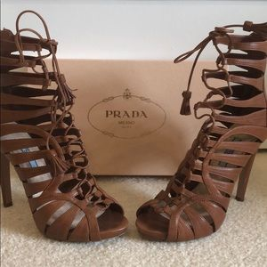 Prada Brown Strappy Leather Lace-Up Ankle Boots